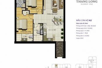 Cần bán gấp căn hộ Thăng Long Number One, DT 87m2, 2PN, 2WC, view nhìn vườn cây, giá 3.350 tỷ