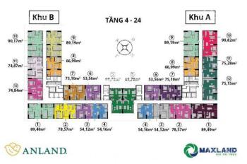 (Chú Hòa - 0967343181) cần bán CC Anland Nam Cường, T (1206 - 53m2), (1511A -75m2), giá 25tr/m2