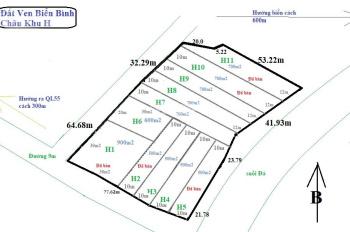 Đất Bình Châu 700m2, 1tr5/m2, sát QL 55 bên hông là suối, cách chợ Bình Châu 400m