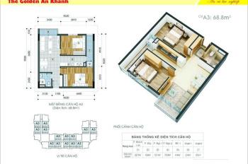 Bán chung cư 2 pn tòa 18T1 Golden An Khánh view vườn hoa giá 1 tỷ. LH đi xem nhà 0975605935