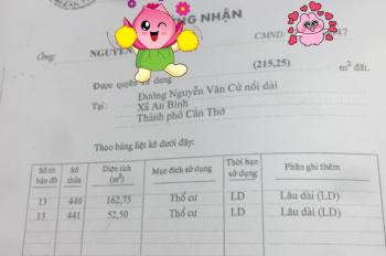 Bán nhà mặt tiền 215,25m2 đường Nguyễn Văn Cừ, Ninh Kiều, Cần Thơ. LH 0973922922