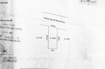 Cần bán 4 mảnh đất mặt đường Nguyễn Bỉnh Khiêm, gần cầu Đình Vũ. (40m2 + 43m2 + 45m2 + 47m2)