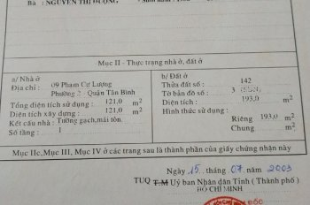 Chính chủ bán nhà số 9 Phạm Cự Lượng, phường 2, quận Tân Bình. Vị trí đẹp. SĐCC. Lh:0945059594