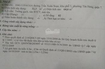Bán gấp nhà hẻm Trần Xuân Soạn, p. Tân Hưng, Quận 7