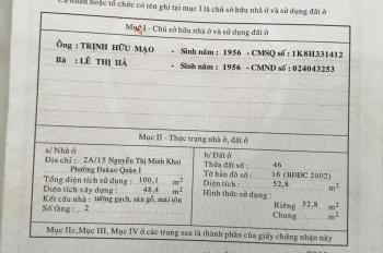 Bán nhà hẻm 2A Nguyễn Thị Minh Khai, 1 trệt 1 lầu,hẻm 4m. Giá 10,8 tỷ. LH 0919093095 Bình