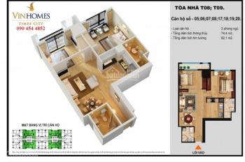 Bán cắt lỗ căn hộ 83m2, 2PN sáng T08 Times City, SĐ, view quảng trường, 2.7 tỷ. LH: 0989 201 635