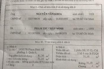 Chính chủ bán nhà 4mx13m, Phạm Đình Hổ, P2, Q6
