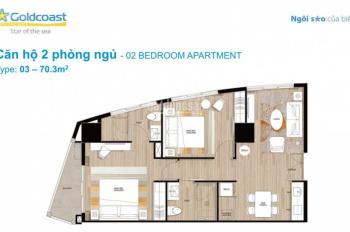 Gia đình tôi cần bán gấp căn 2 phòng ngủ GoldCoast Nha Trang trực diện biển giá dưới 4tỷ5