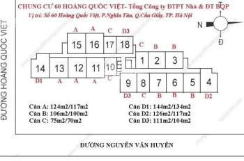 Mình định cư bán gấp căn hộ 60 Hoàng Quốc Việt căn 1907, 100m2, BC Đông, giá 31tr/m2. 0974547377