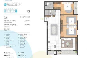 Cần tiền nên gia đình có nhu cầu thanh khoản căn hộ 3 PN tòa Novo chung cư Kosmo