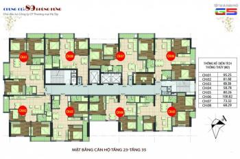 Chính chủ bán căn góc 1605, DT 80m2 chung cư 89 Phùng Hưng, cần bán gấp giá 15tr2/m2, LH 0904516638