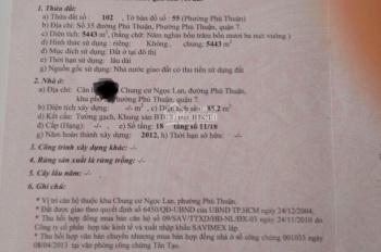 Cần bán căn hộ Ngọc Lan, Phú Thuận, quận 7, DT 85.2m2, sổ hồng căn góc. Giá 2.05 tỷ TL, 0935243332