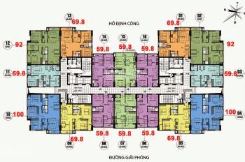 (Cô Tuyền - 0906839966) cần bán CHCC CT36 Định Công tầng (1612 - 92m2), giá 21 tr/m2, bao tên