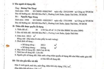Bán MTKD Đường Số 8, Linh Xuân, 205m2, thổ cư 100%, đất cực đẹp để kinh doanh, LH 0909428777