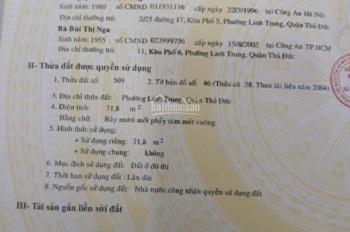 CẦN BÁN NHÀ RIÊNG ĐƯỜNG 17 P.LINH TRUNG, Q. THỦ ĐỨC. LH 0933.834.045