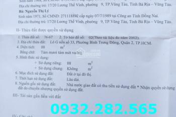Bán gấp nền đất 2 mặt tiền đường 49 khu 10 mẫu, Nguyễn Duy Trinh, Quận 2. 0932 282 565