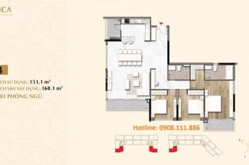 Bán nhanh căn hộ vip nhất khu Sarica, 3PN, DT 160m2 - khu đô thị Sala. View Bitexco. LH 0908111886