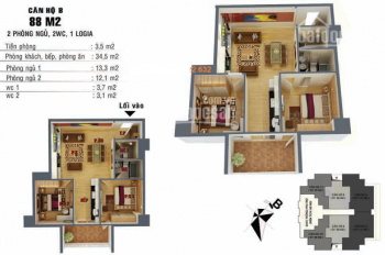 Cho thuê căn hộ 88m2: 2PN chung cư 52 Lĩnh Nam, nhà nguyên bản, giá 5,5 triệu/tháng. 0962251630