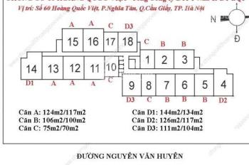 Chủ nhà bán trong tuần CC 60 Hoàng Quốc Việt, căn 16-07, 100m2, giá 29 tr/m2. Chú Liêm 0971864816