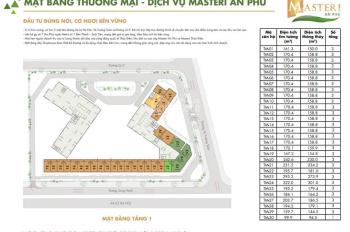 Bán shophouse Masteri An Phú, diện tích: 170,4m2, loại: Shophouse 3 tầng. Liên hệ: 0907090388
