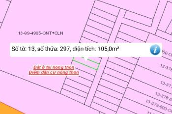 Gia đình cần tiền bán gấp lô đất Vĩnh Thanh, đường bê tông 7m, DT 105m2, TC 100%, giá rẻ