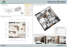 Bán căn hộ Intracom Riverside - View Sông Hồng 54m2 - 2PN 2WC - ban công Đông Nam - Giá 1.32 tỷ