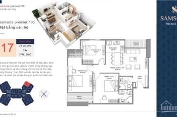 Chính chủ bán gấp CHCC Samsora Hà Đông, DT 91m2, 3PN, căn góc đẹp, chỉ 26.5tr/m2. LHCC: 0973672720