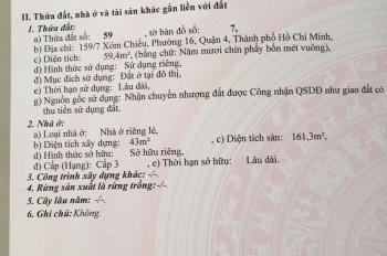 Chính chủ bán nhà hẻm 159/7 Xóm Chiếu, p16, q4
