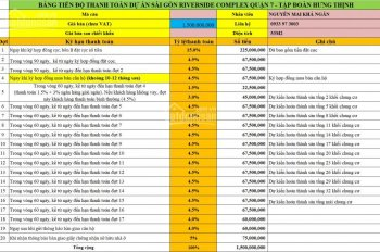 PKD CĐT Hưng Thịnh CH Q7 Sài Gòn Riverside không đăng giá bán ảo TT 24%. Khả Ngân: 0933 97 3003