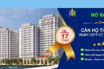Bán căn hộ 2 PN giá 878 triệu rẻ nhất tại chung cư Ruby City 3, chiết khấu 5%. Liên hệ: 0979049207