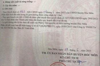 Gia đình tôi bán 3 lô đất MT Trần Thị Bốc, bao GPXD thổ cư 100%, 870 tr/85m2, SHR, LH :0903.632.136
