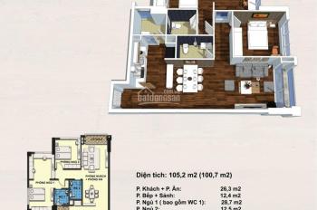 Bán căn góc số 03 đơn nguyên 1 tòa Handi Resco, diện tích 99.7m2, 3 phòng ngủ, ban công ĐN
