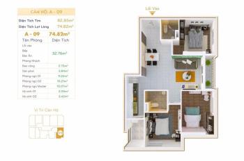 Cân bán gấp căn hộ 2PN 2WC DT 76m2 tầng đẹp giá tốt. Hỗ trợ vay ngân hàng 70%, LH 0972 799 711