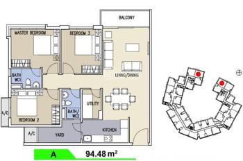 Cần bán căn hộ 3 phòng ngủ, 95m2, block C tại khu Ruby, Celadon City