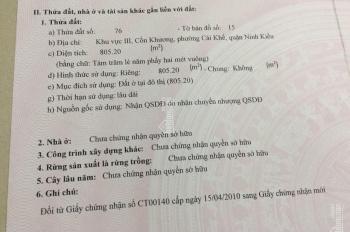Bán nền BT đường Phạm Công Trứ, DT 20m x 40.76m (Cồn Khương), P.Cái Khế, Q Ninh Kiều, TP Cần Thơ