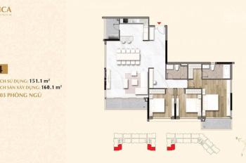 Bán nhanh căn hộ vip Sala Sarica 3PN diện tích 160m2 - khu đô thị Sala, view Bitexco, LH 0908111886