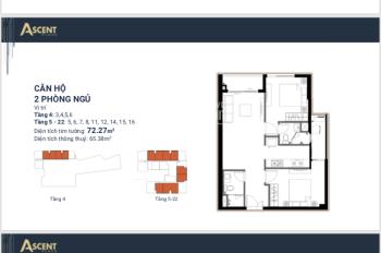 Chính chủ bán căn hộ Ascent Plaza 375 Nơ Trang Long, P13, Q. Bình Thạnh, tầng 16, view sông cực mát