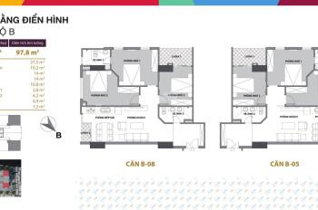 Cắt lỗ căn góc B8 3pn, 2wc, 90,7m2, giá 1 tỷ 645tr tầng 20 dự án Startup Tower. Lh: 085.939.0768