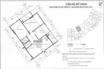 Chính chủ cần tiền bán cắt lỗ căn 3PN chung cư CT1 Thạch Bàn. LH: Ms Thùy: 0989.030.357