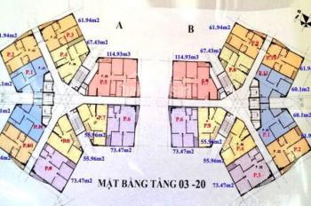 Chính chủ bán chung cư CT1A Yên Nghĩa căn 03 dt 61.94m2, giá 12.5tr/m2. LH 0971285068
