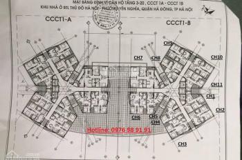 Chính chủ cần bán cắt lỗ CH CT1 Yên Nghĩa, DT 62m2, 2PN, giá 11tr/m2. LH 0902.162.766