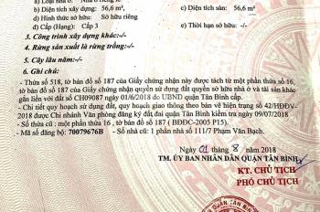 Bán lô đất 1 sẹc đường Phạm Văn Bạch, Tân Bình, 57m2 giá 3 tỷ
