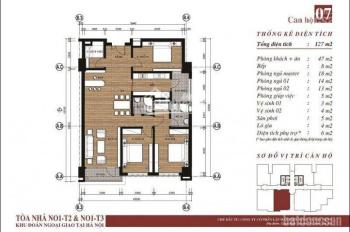 Bán căn 07 tòa N01T3 giá 29,5tr/m2 ban công hướng Nam nhìn về KĐT THT, LH: 0859021222