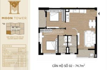 Chung cư Tây Hồ Residence căn góc 74.7m2, 2PN, View Tây Hồ Tây, sắp nhận nhà giá 2.744 tỷ (bao VAT)