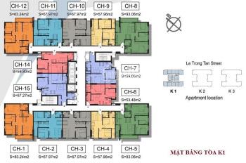 Chính chủ bán bằng gốc căn hộ chung cư The K Park 1808 K1, DT 93m2, giá 2.1tỷ. 0978027988