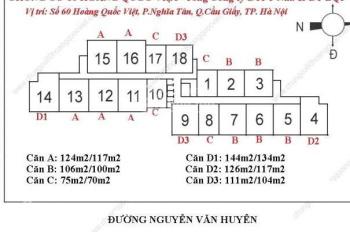Chủ nhà cần bán CHCC 60 Hoàng Quốc Việt, căn 15-09, 104m2, 3PN, giá: 28 tr/m2. Chị Liên: 0971864816