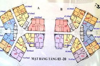 Bán căn hộ chung cư CT1 Yên Nghĩa, căn 06 tòa A, DT: 73.47m2, giá bán 11.5tr/m2. LH: 0904516638