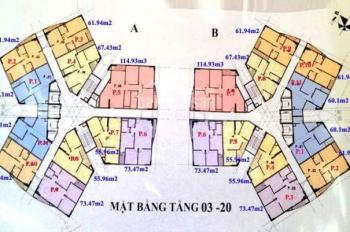 Bán gấp chung cư CT1 Yên Nghĩa căn 1502 tòa B DT 61.94m2, giá 12tr/m2 (có ra lộc). LH 0904999135