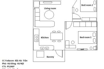 Chính chủ bán căn hộ Fodacon Bắc Hà, 2 phòng ngủ, dt 72m2 đầy đủ nội thất
