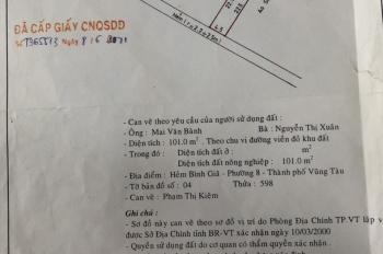Chính chủ cần bán miếng đất vị trí đẹp ở TT Vũng Tàu, đất đô thị. LH: 0378058059